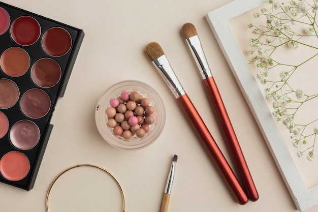 Makeup cosmetic products on table