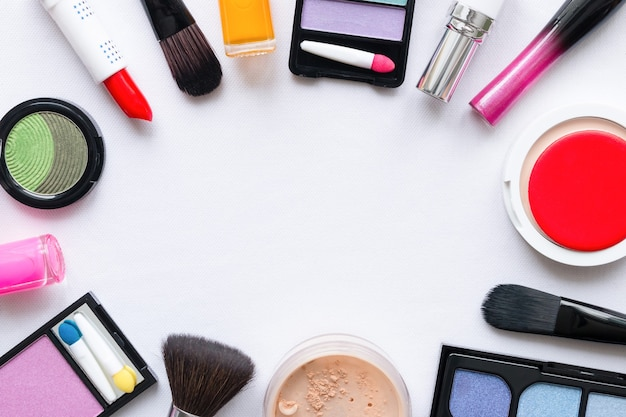 Makeup cosmetics on a white background mockup