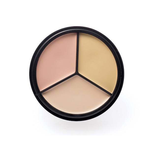 Makeup foundation palette on white background