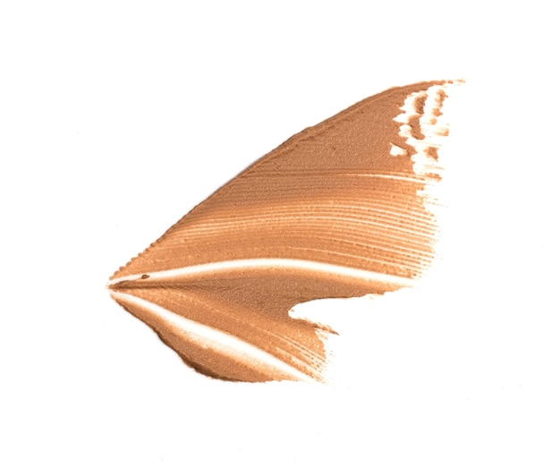 Makeup foundation swatch smudge smear isolated on white