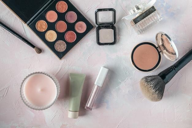 Makeup products, beauty, blogger, social media, magazines flat lay