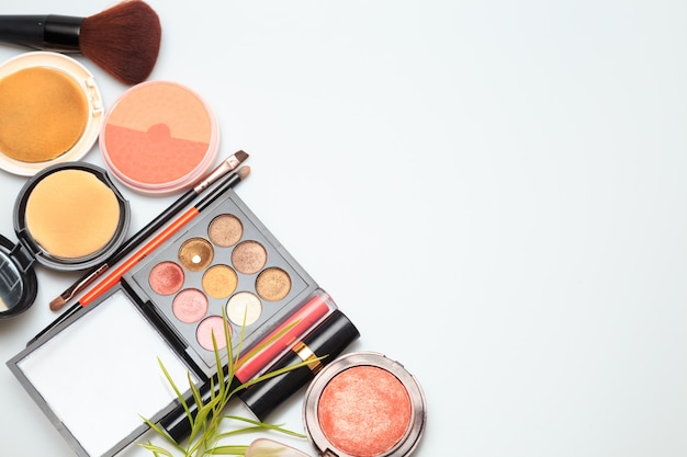 Makeup products  on white