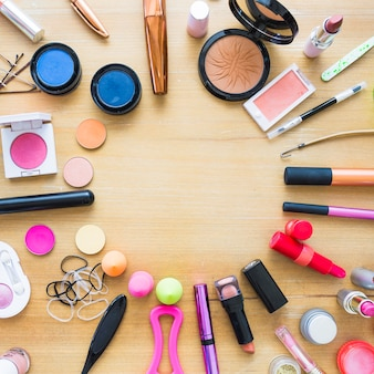 Makeup supplies lying in circle