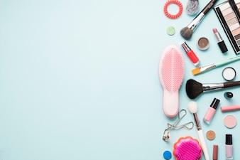Makeup supplies near combs