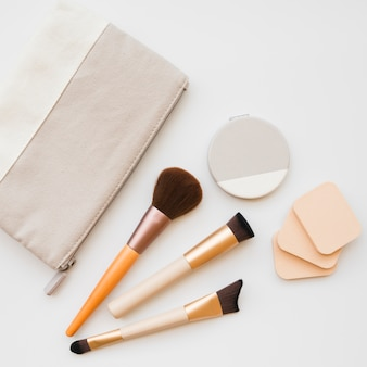 Makeup tools in a case