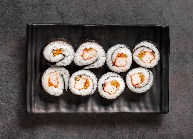 Maki rolls on black slate