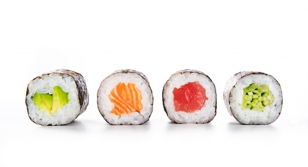 Maki rolls on white background