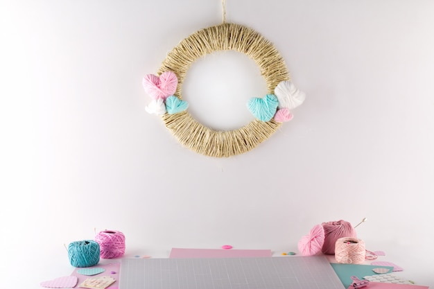 Making diy project. knitting decoration. craft tools and supplies. season home valentines day decor.