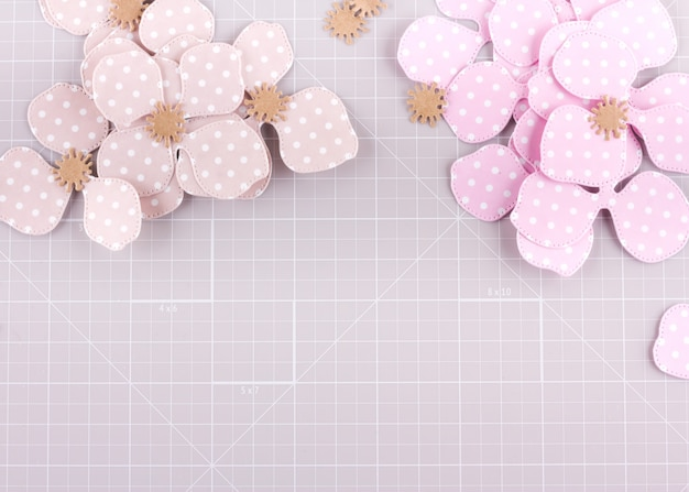 Making diy project. paper decoration. craft tools and supplies for scrapbooking. season home flower decor.