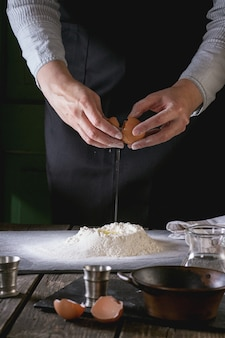 Making the dough by female hands