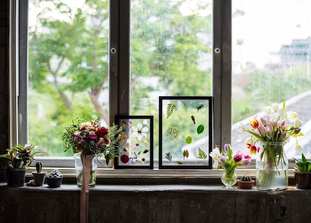 ガラスフレームで乾いた花を作るホビー手作り