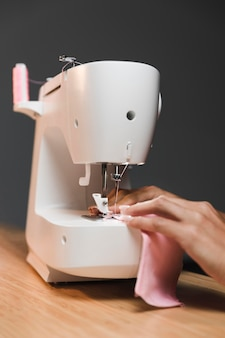 Making a fabric mask with sewing machine