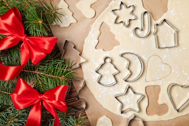 Making gingerbread christmas cookies using form for cooking