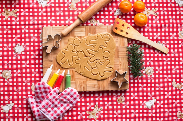 Making gingerbread man and christmas cookies