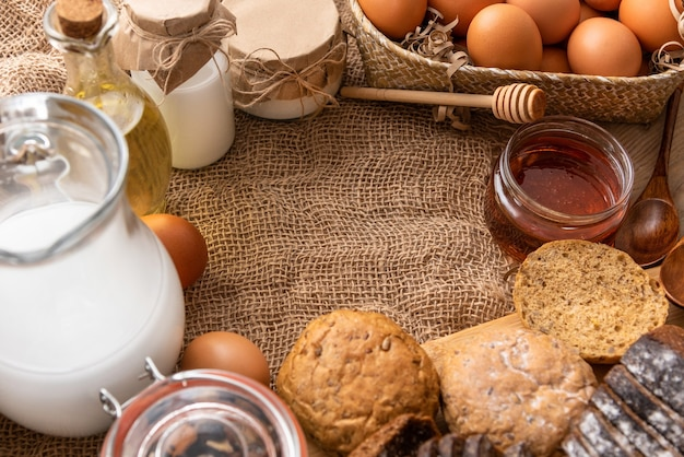 Making homemade bread from natural products with a copy of the space.
