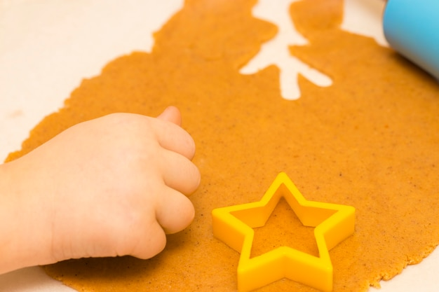 さまざまな形の自家製クリスマスクッキーを作ります。