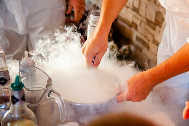 Making ice cream with liquid nitrogen, professional cooking.