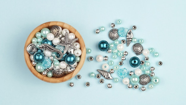 Making jewelry. beads of various shapes