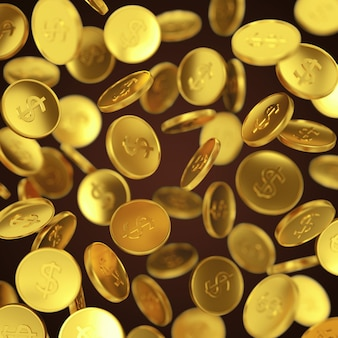Making money, business success, finance, wealth, casino winning and jackpot concept: gold falling coins on dark background