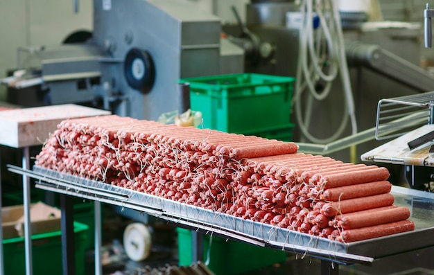 Making sausages, food production in the factory.