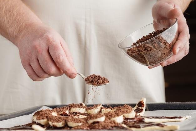 Making swirl brioche with chocolate, chocolate roll bread, chocolate pull apart rolls, chocolate babka, povitica: traditional polish sweet