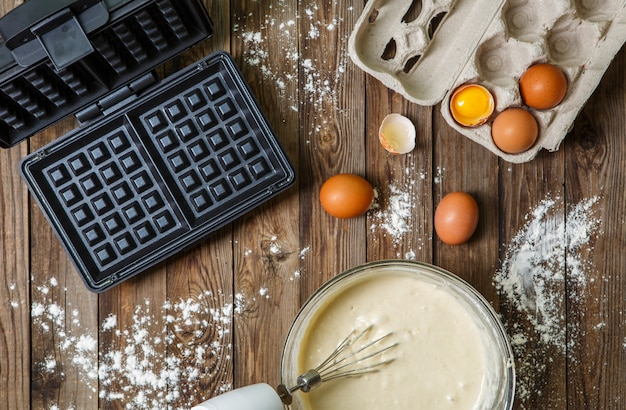 Making waffles at home