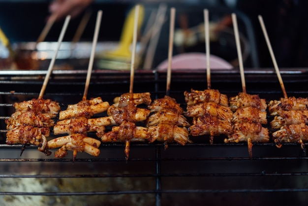 Mala is grilled meat (beef, pork, chickens or mushroom) with chilli sauce