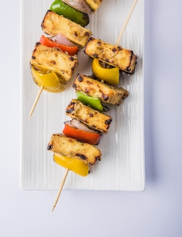 Malai paneer tikka kabab  is an indian dish made from chunks of cottage cheese