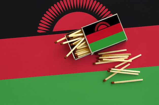 Malawi flag  is shown on an open matchbox, from which several matches fall and lies on a large flag