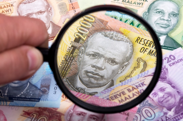 Malawian money in a magnifying glass a business background