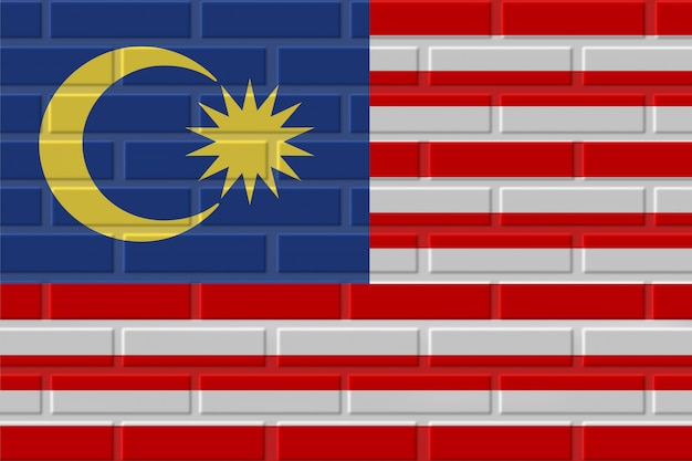 Malaysia brick flag illustration