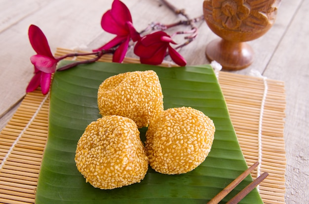 Malaysia desert ,onde-onde or known as chinese sesame ball on banana leaf.
