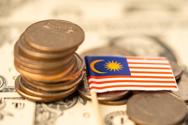 Malaysia flag on coins background