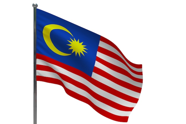 Флаг малайзии на шесте. металлический флагшток. национальный флаг малайзии 3d иллюстрации на белом