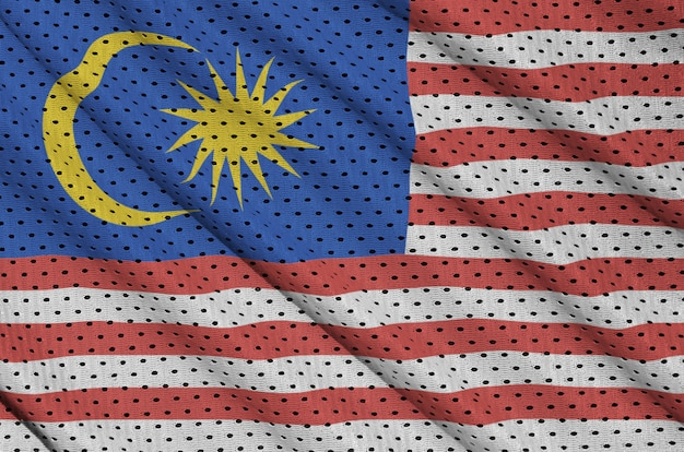 Malaysia flag printed on a polyester nylon sportswear mesh fabric