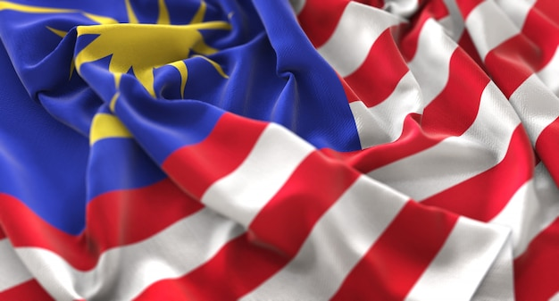 Malaysia flag ruffled beautifully waving macro close-up shot