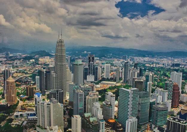 Малайзия, куала-лумпур, вид со смотровой площадки башни минара