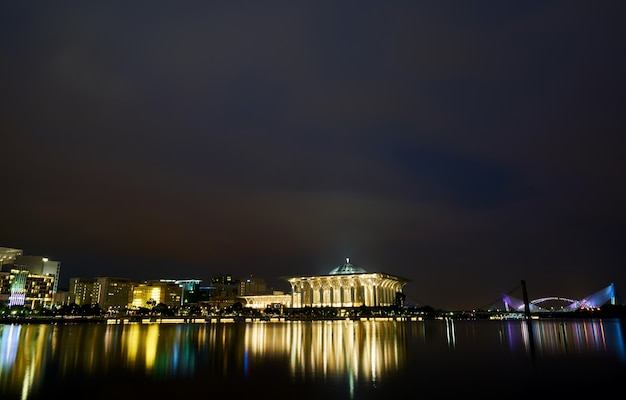 Malaysia night bridge muslim architecture
