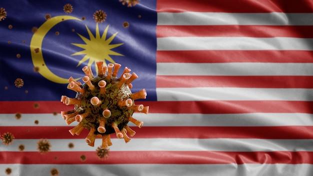 Malaysian flag waving and coronavirus 2019 ncov concept.