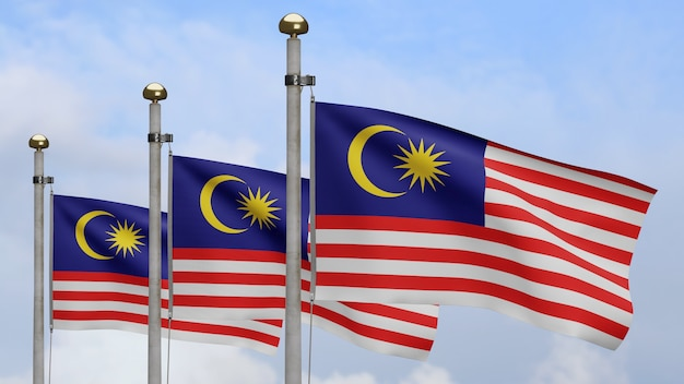 Malaysian flag waving on wind with blue sky and clouds. close up of malaysia banner blowing, soft and smooth silk. cloth fabric texture ensign background.