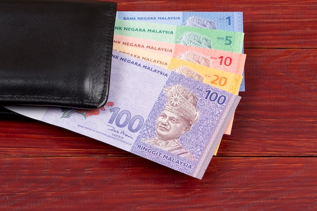 Malaysian money in the black wallet