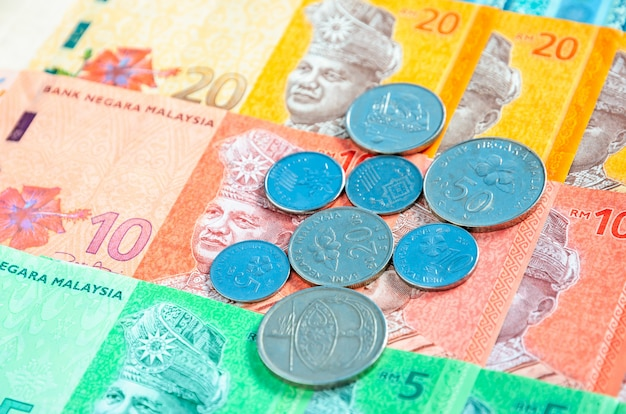 Malaysian ringgit banknotes and coins background. financial concept.
