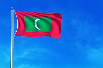 青い空の背景にモルジブの旗3dのレンダリング