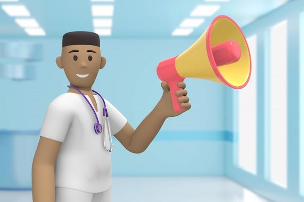 内科病院の男性アフリカ医師が叫んで、叫んで、メガホンを話します。漫画の人。