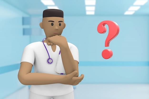 Мужской африканский доктор в медицинском интерьере больницы и вопросительного знака. проблема, решение, проблема. мультяшный человек.