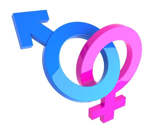 Мужские и женские 3d гендерные символы взаимосвязаны, изолированные на белом.