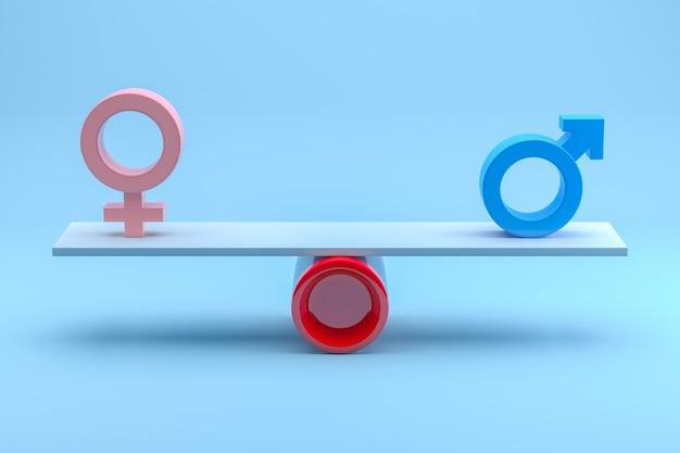 남성과 여성의 평등 개념입니다. 3d 렌더링