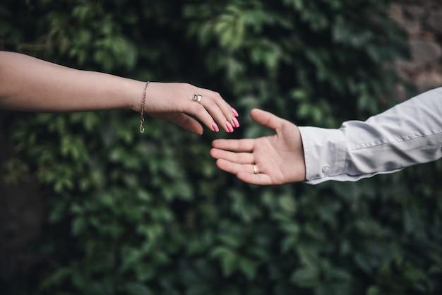 男性と女性の手は緑の葉の背景でお互いに到達します