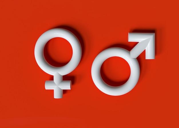 Мужской и женский символ гендерный символ с 3d-эффектом 3d-рендеринга