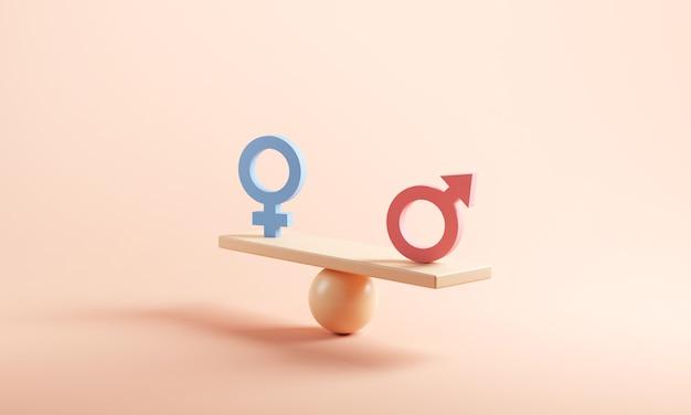 Мужской и женский символ на весах с балансом на желтом фоне